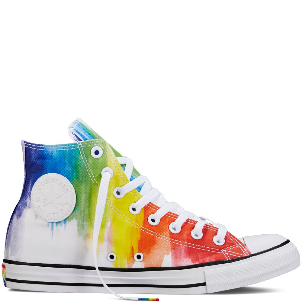 4c105e1f1964 Rainbow tie-dye high tops from Converse s Pride Collection.