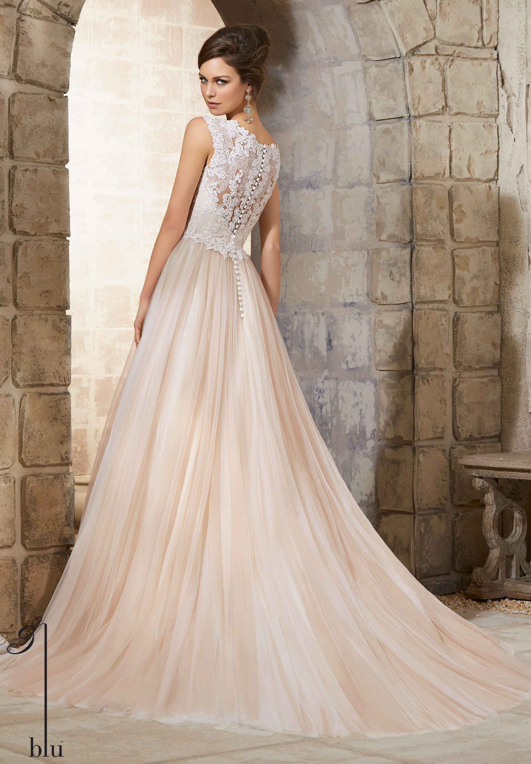 Wedding Gowns 5368 Embroidered Lace Appliques with Crystal Beading ...