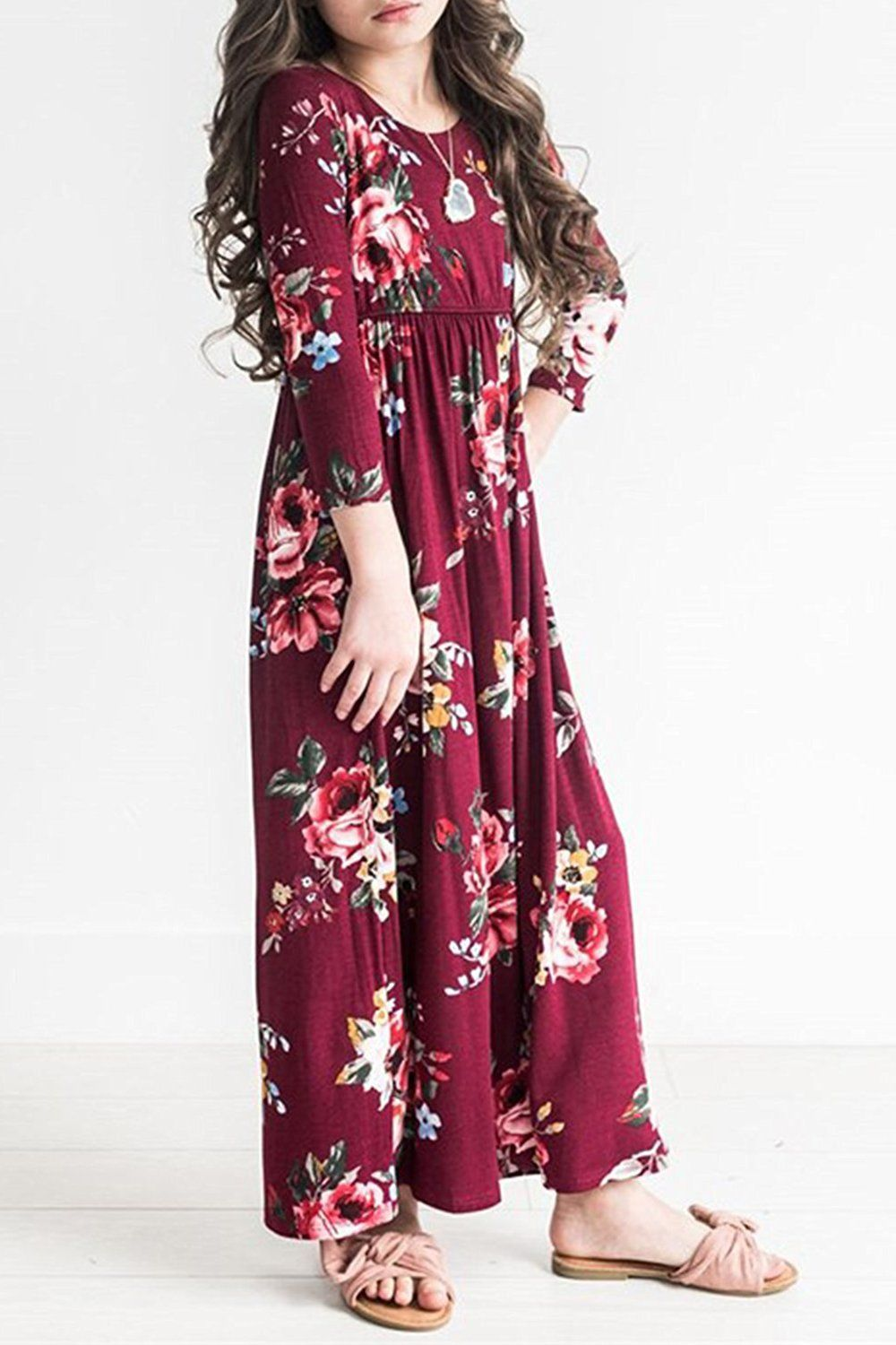 Girls flower sleeve pleated casual swing long maxi dress with