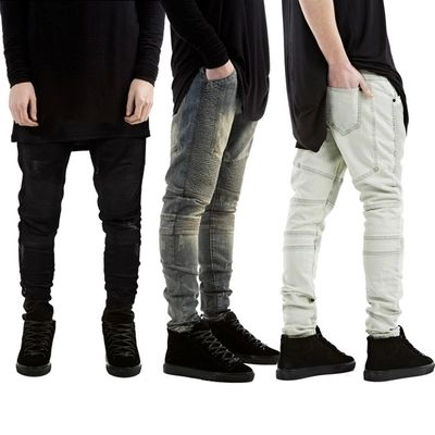 Mens Skinny Jeans Men Runway Distressed Slim Elastic Jeans Denim ...