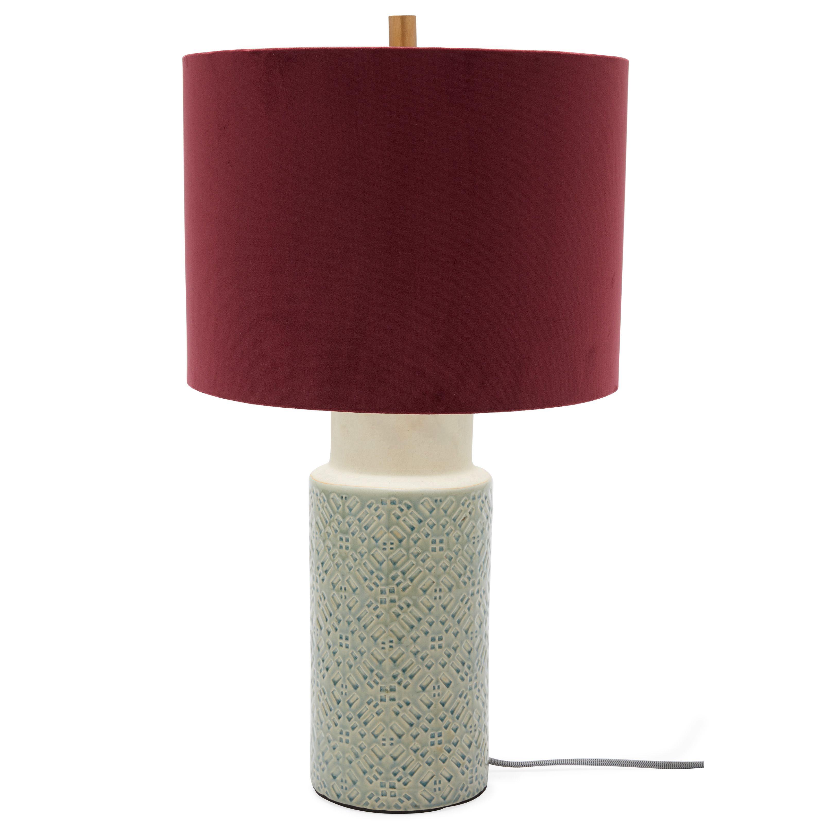 Ceramic Blue Table Lamp With Venetian Wine Velvet Shade By Drew Barrymore Flower Home Walmart Com Lamp Blue Table Lamp Table Lamp