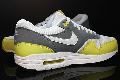 free shipping 93cb9 64f18 Nike Air Max 1 Essential Trainers Mens White Cool Grey Black Yellow