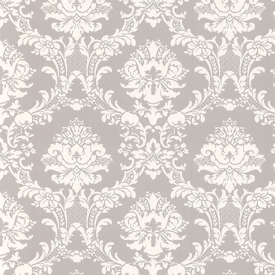 White On Gray Victorian Stencil Fl Damask Wallpaper