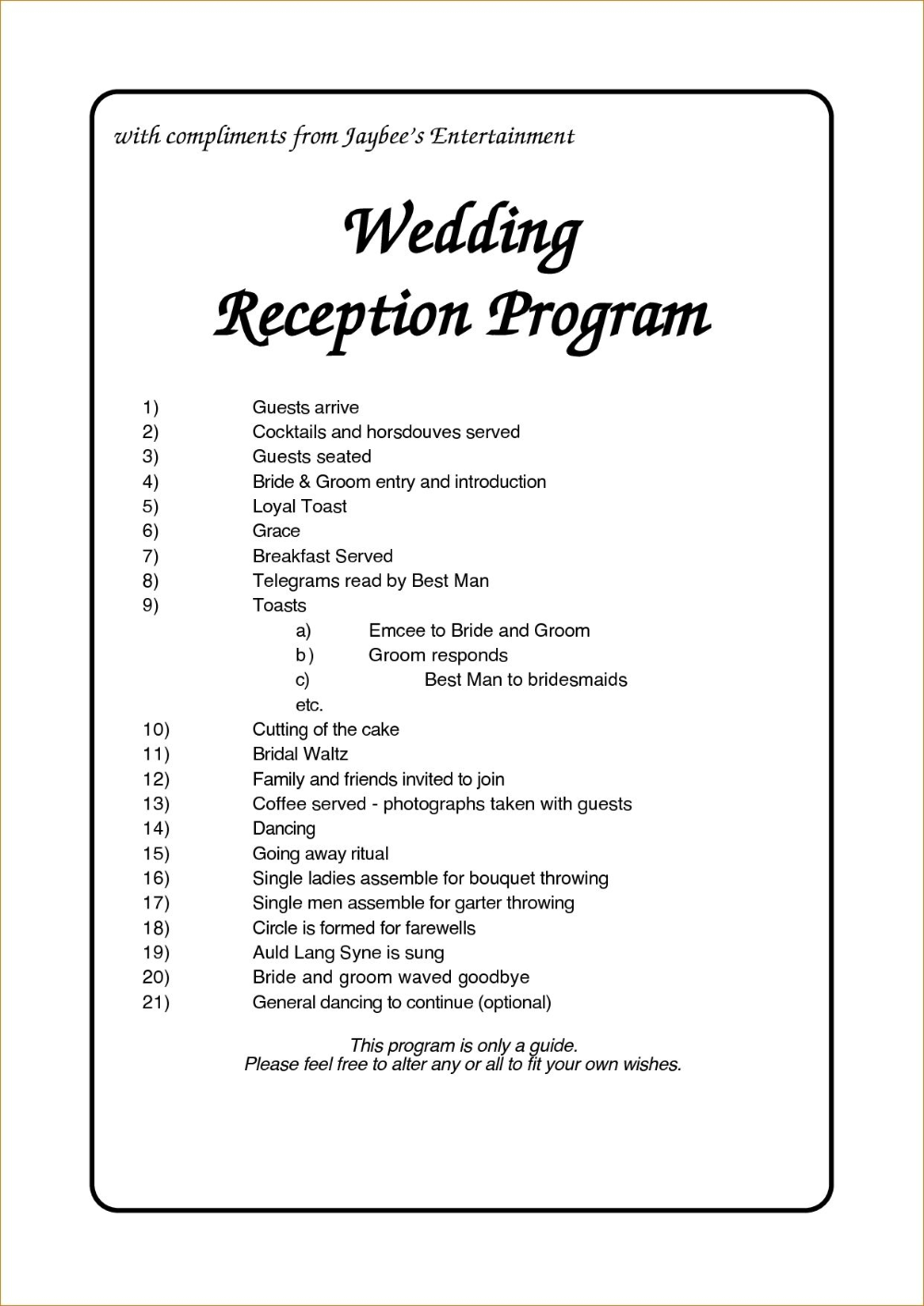 Wedding Reception Program Template Business Plan For Free Pro Form With Regard In 2020 Wedding Reception Program Wedding Reception Timeline Order Of Wedding Reception
