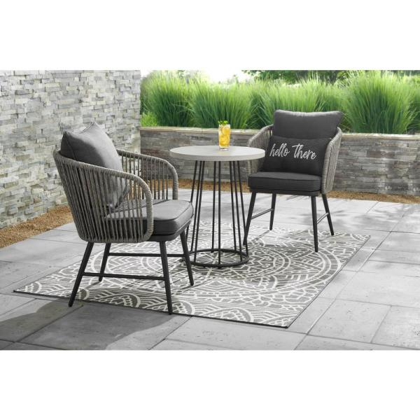 Stylewell Paden 3 Piece Wicker Outdoor Patio Bistro Set With Grey Cushion A203005200 The Home Depot Small Patio Furniture Bistro Table Outdoor Bistro Set