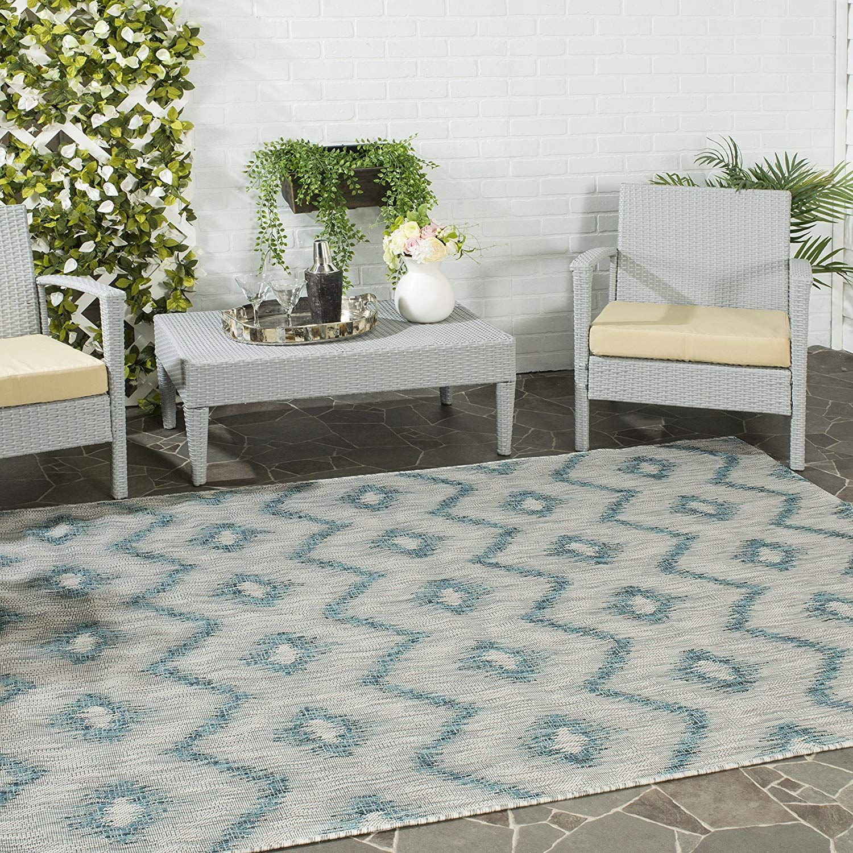 Amazon Com Safavieh Courtyard Collection Cy8463 37212 Grey And Blue Indoor Outdoor Area Rug 5 3 X 7 7 Indoor Outdoor Rugs Outdoor Rugs Patio Patio Rugs