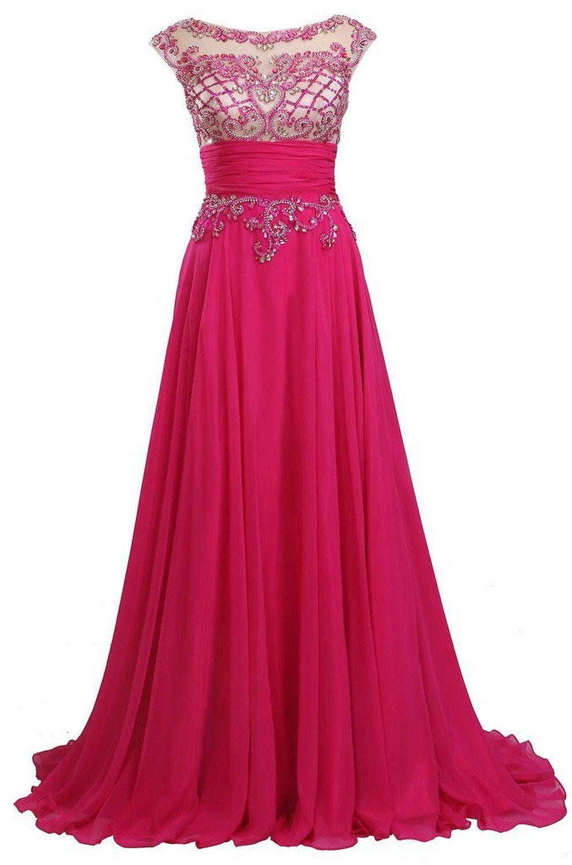 Fanciest womenus luxury beaded cap sleeve long prom dresses evening