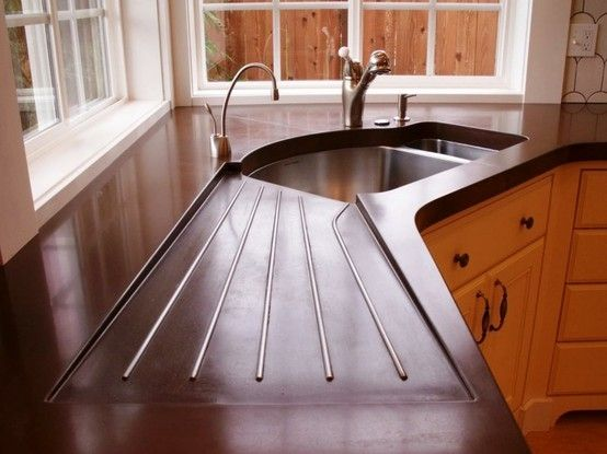 Concrete Countertop W Built In Dish Drainer Genius By Courtney