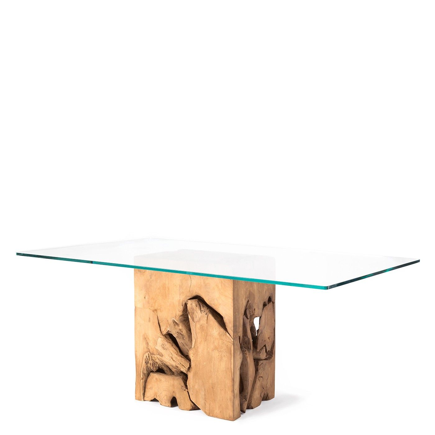 Teak Root Glass Top Dining Table Natural Teak Glass Top Dining Table Modern Glass Dining Table Glass Dining Table