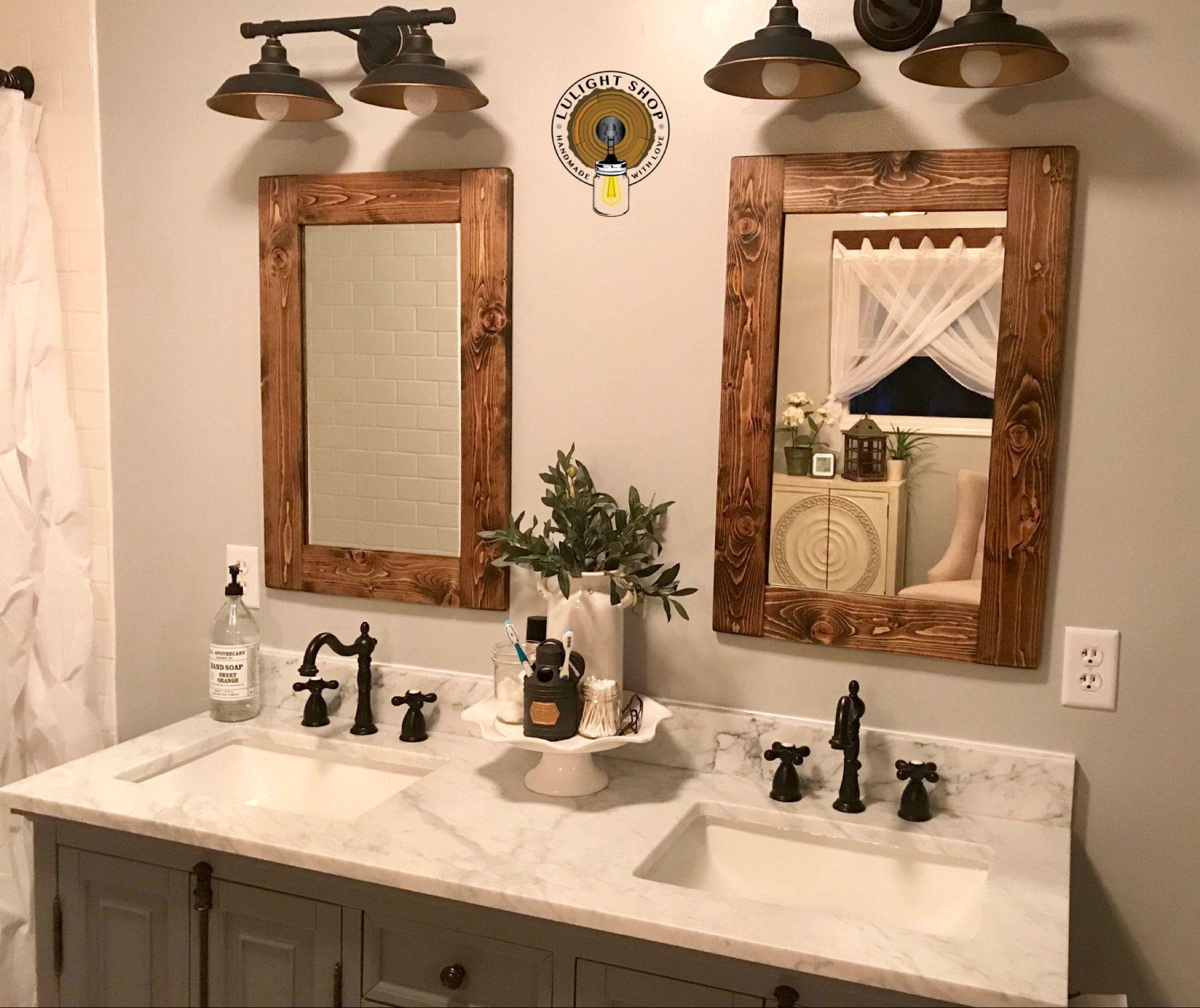 Dark Walnut Frame Mirror Farmhouse Mirror Framed Mirror Etsy