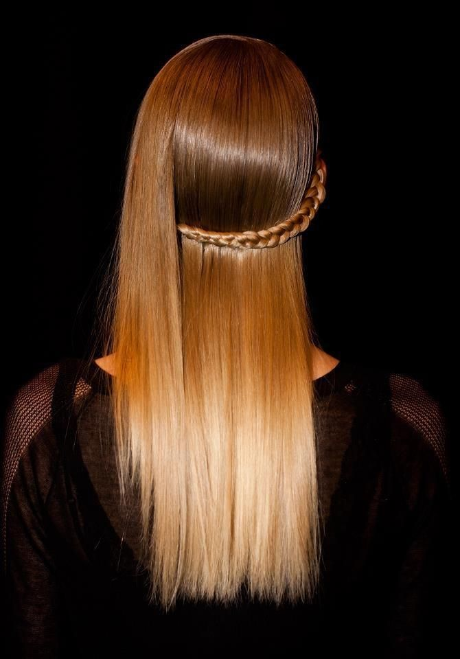 High shine and side braid at Herve Leger.