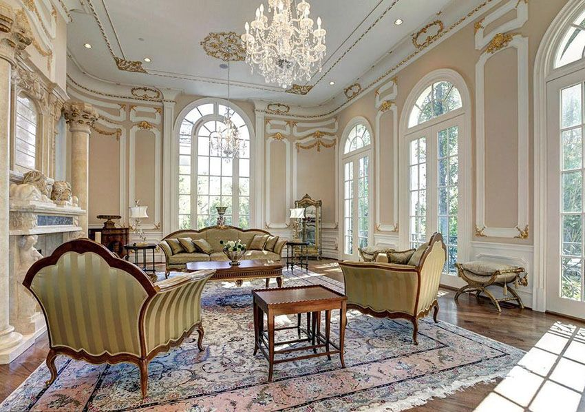 Traditional Formal Living Room With Gold Gilding And Crown Molding With Fireplace Formal Living Room Sets Formal Living Rooms Luxury Living Room