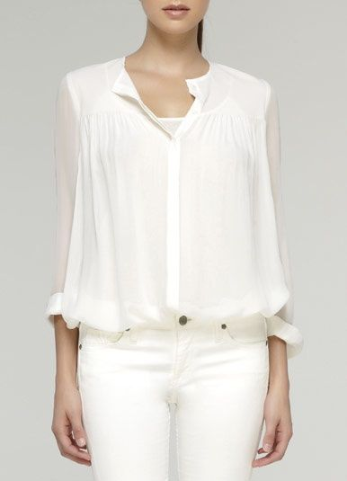4dd834642b0145 Vince-Silk Chiffon Placket White Shirt