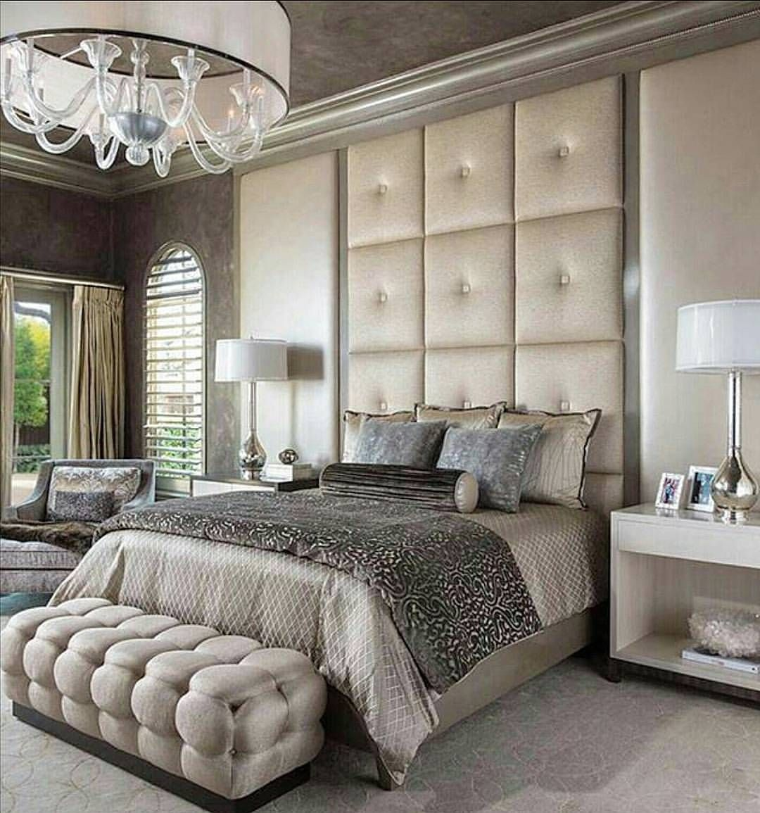 Beautiful bedroom with soothing colors & delicate patterns