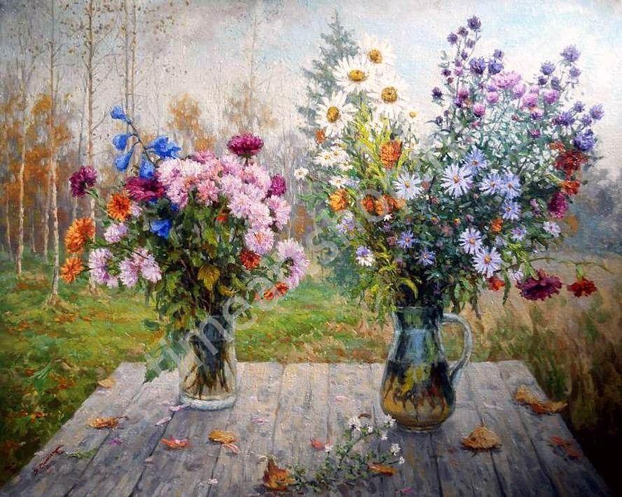 Осенние цветы, картина раскраска по номерам своими руками ...