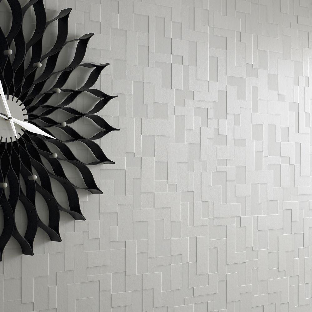 Vlies Tapete Struktur Weiss Kariert Seidenglanzend Geometrisch