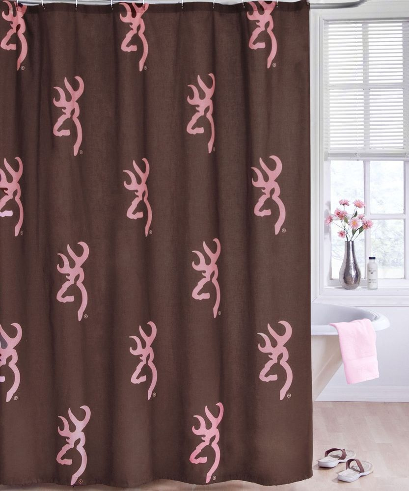 Country curtains logo - Pink Browning Buckmark Combo 1 Shower Curtain 1 Bathroom Mat Bath Decor