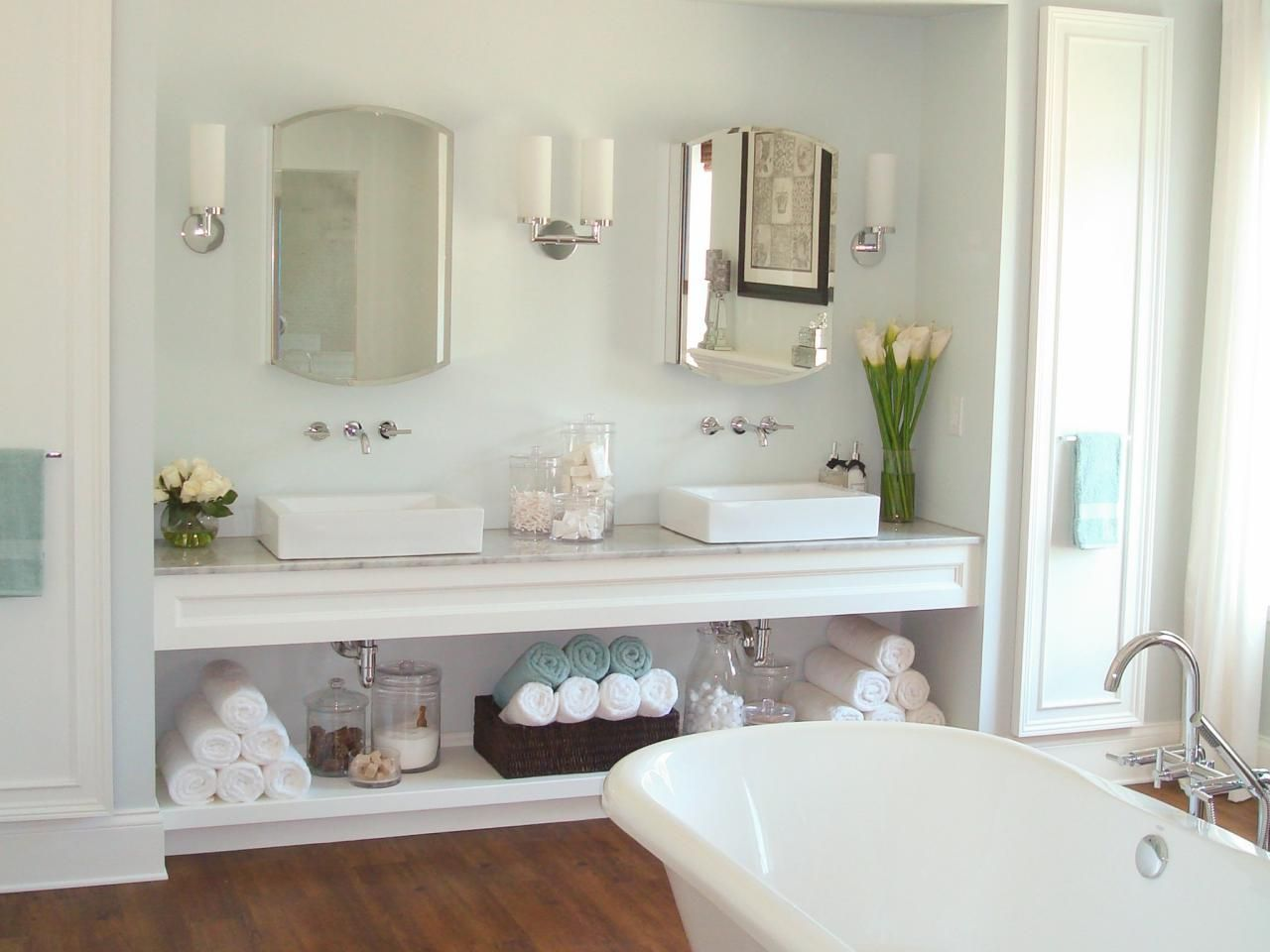 Bathroom Vanity Options vanity organizer | open shelving, towels and vanities
