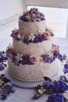 birthday cake blue and purple flowers Google Search Purple