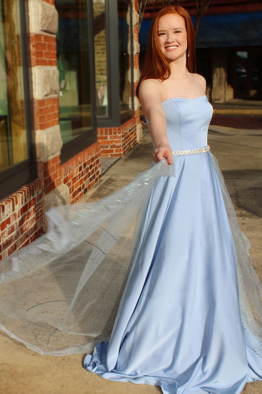 Customized substantial prom dresses princess strapless blue