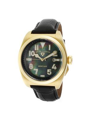 Swiss Legend Watches Men's Heritage Yellow Gold & Black Mother of Pearl Watch