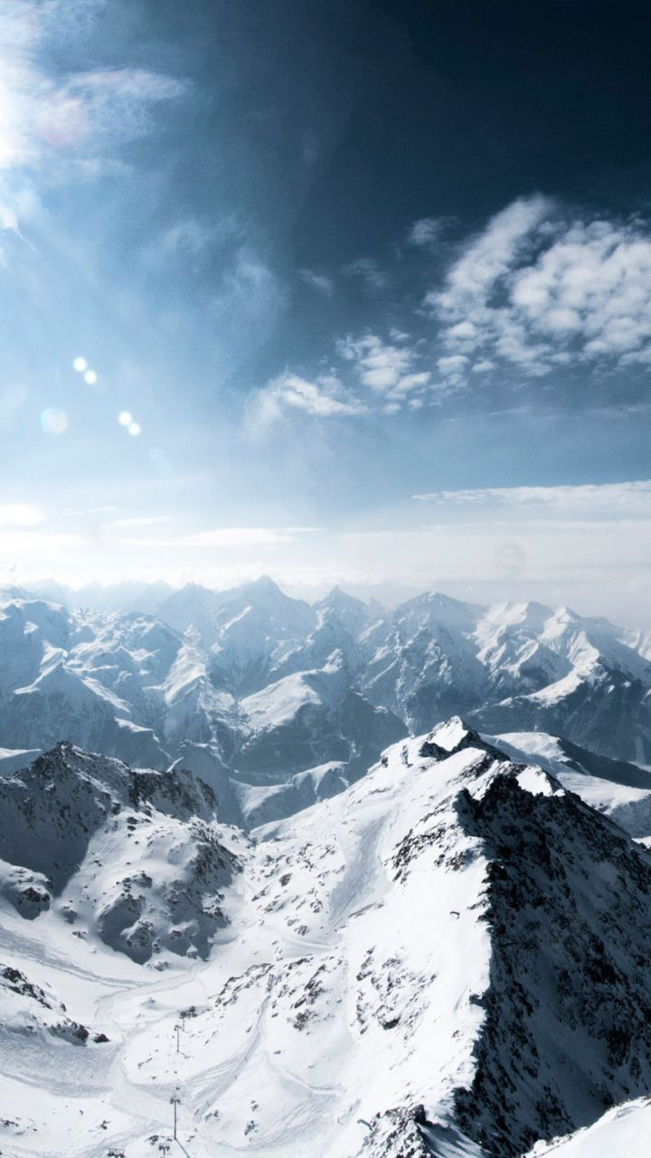 Mountains French Alps Winter Snow Sunny Day 720x1280 Wallpaper 風景 景色 空