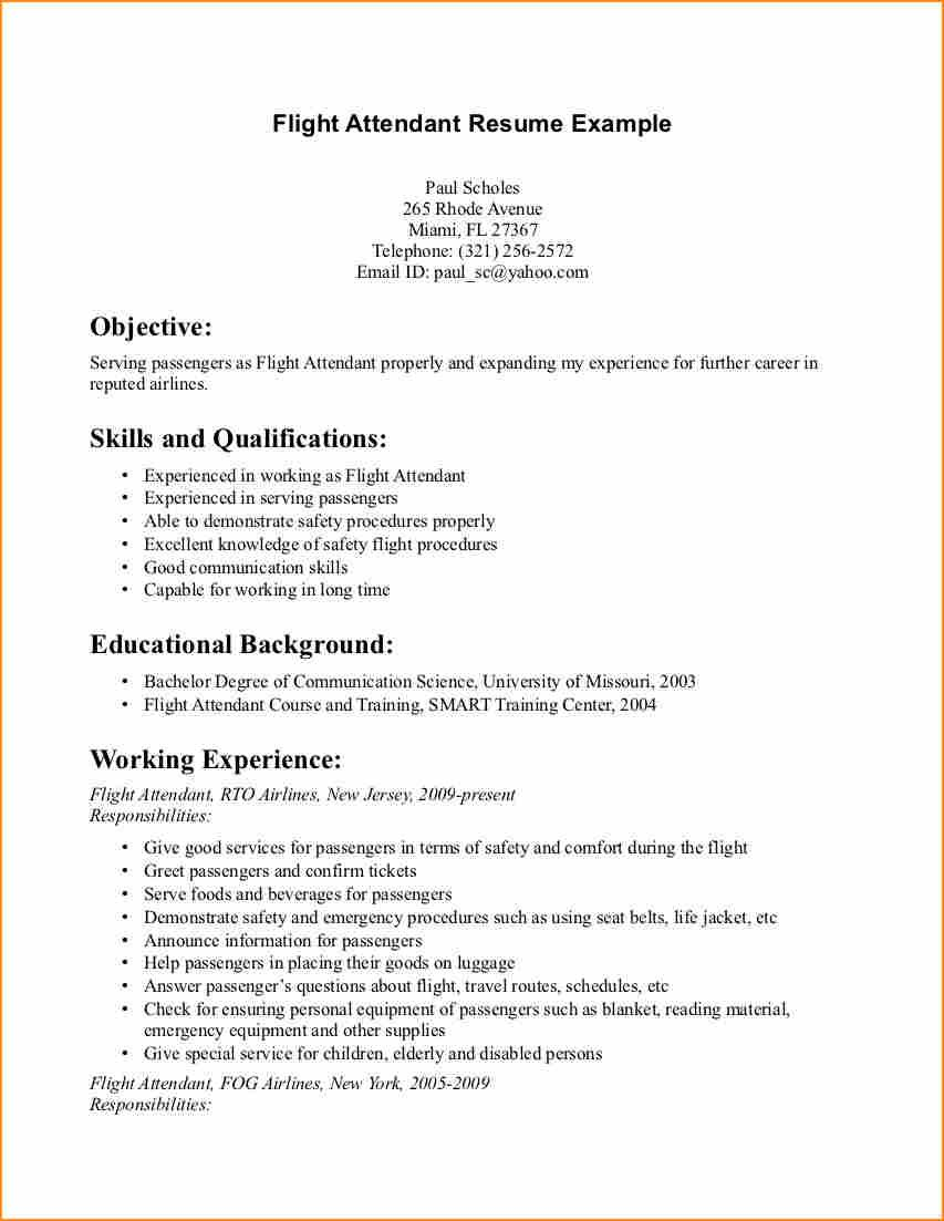 Flight Attendant Resume Example Cover Letter Samples Writing Good