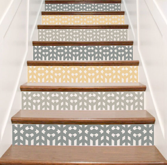 arts and crafts style mission vinyl stickers pour d coration escalier escaliers stickers pour. Black Bedroom Furniture Sets. Home Design Ideas