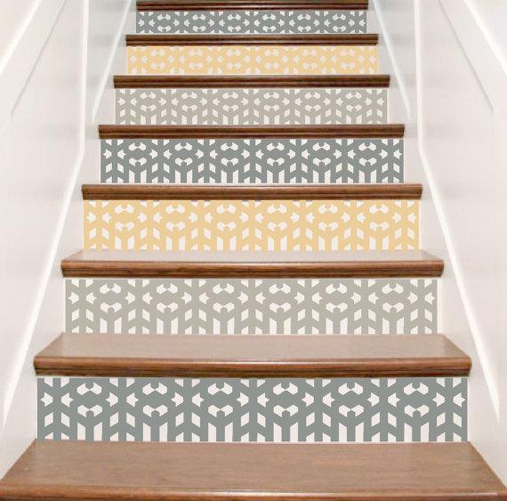 Escalier Carrelage Autocollant De Vinyle Arts Et Artisanat Une Commande Un Sticker Riser Donc Si Vous Stair Decals Staircase Decor Art And Craft Design