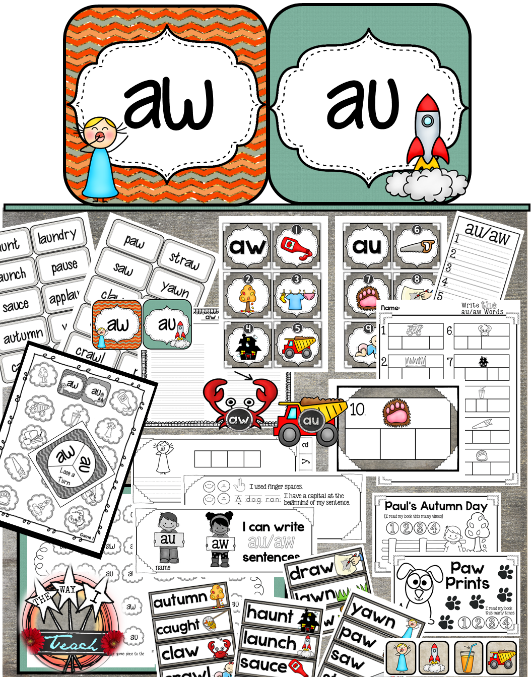 Au Aw Diphthongs Word Work And Phonics Unit K 3