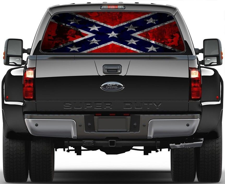 Picture Of Confederate Rebel Flag Rear Window Graphic Decal For - Truck windshield decals