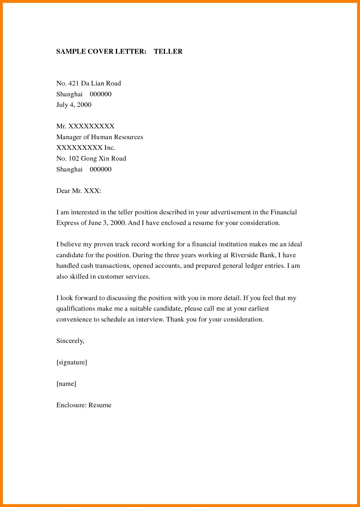 23 Bank Teller Cover Letter Format For Valid Example