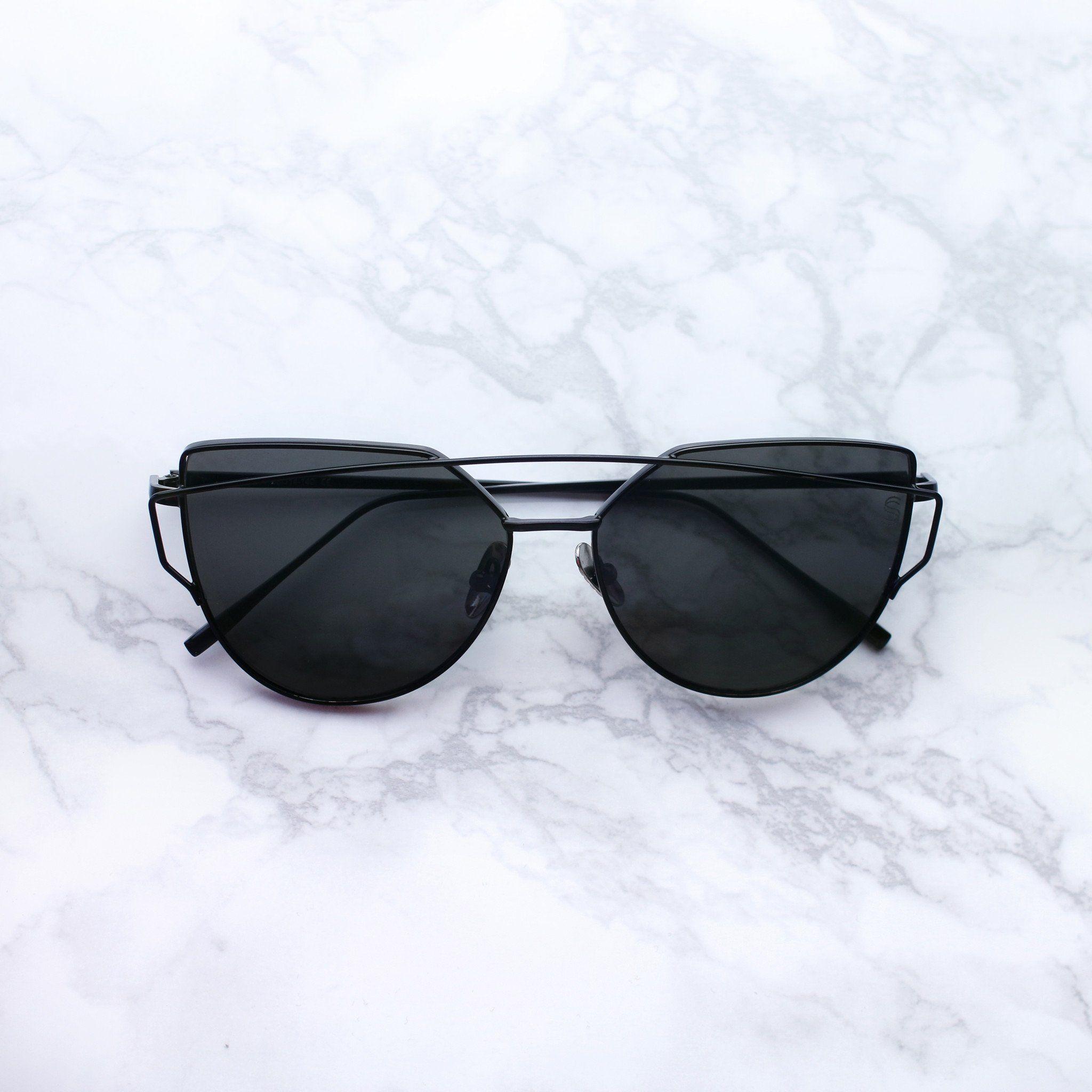 82613e599c32 Sequin Sand black double bar lenses cat eye sunglasses | Look ...