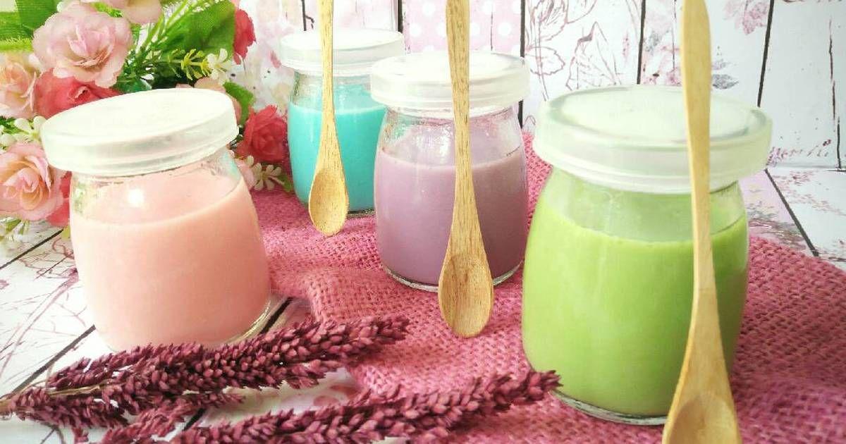 Resep Silky Puding A La Puyo Dessert Blue Lychee Purple Taro Greentea Pink Rose Oleh Noer Indah Kumaladewi Resep Puding Makanan Penutup Resep Makanan Penutup