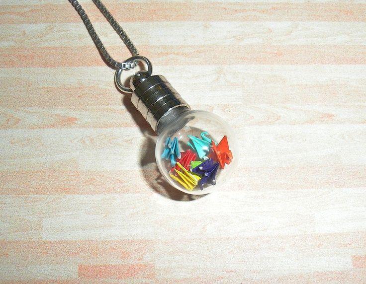 Origami Crane Necklace Miniature Cranes Rainbow Origami Pendant