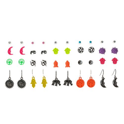 20 Pack Neon Brights Buddha Earrings Claires 5 euros