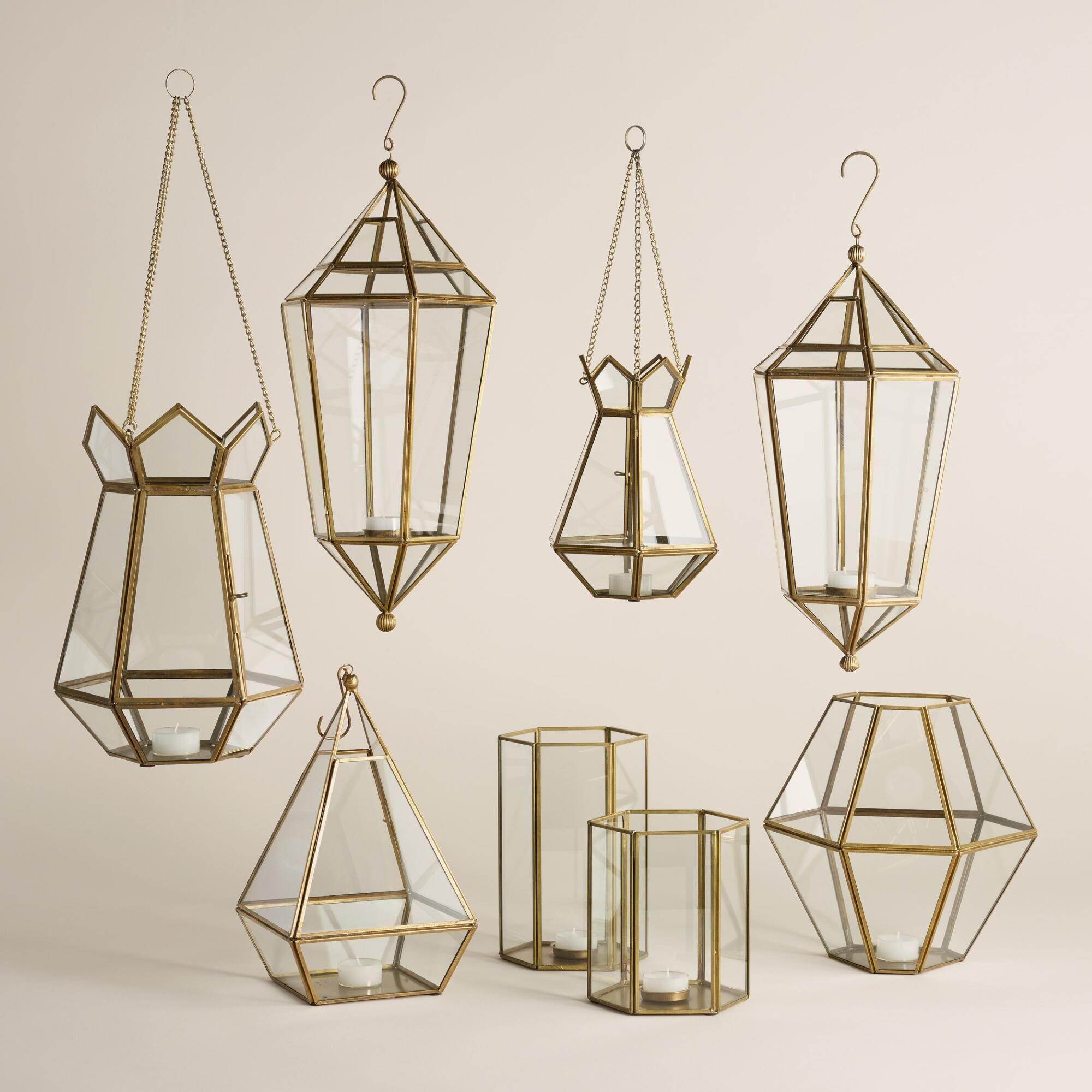 Faceted lantern collection antique brass tabletop and artisan
