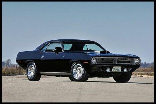Black 70' Hemi Plymouth Cuda.