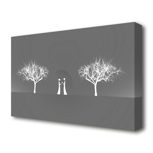 East Urban Home <p>love between the trees and moon grey stretched text quotes canvas vivid colour. printed on heavy weight canvas. mounted on to 38mm box frame. this love between the trees and moon grey text quotes canvas is ready to hang straight from the box.</p><strong>Features:</strong><ul><li>Gallery wrapped on 4.4 cm thick chunky box frame</li><li>Heavy weight matt canvas 280 gsm printed with the latest UV inks</li><li>Ready To Hang</li><li>Product Type: Graphic Art</li><li>Primary Art Mat