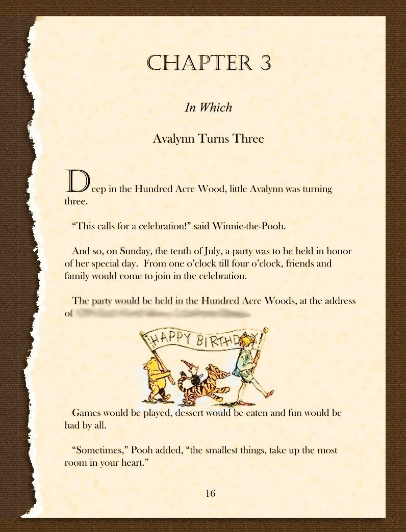 Winnie the pooh birthday invitation. Ripped story book page filled ...