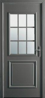 Porte d'entrée aluminium classique mi vitrée