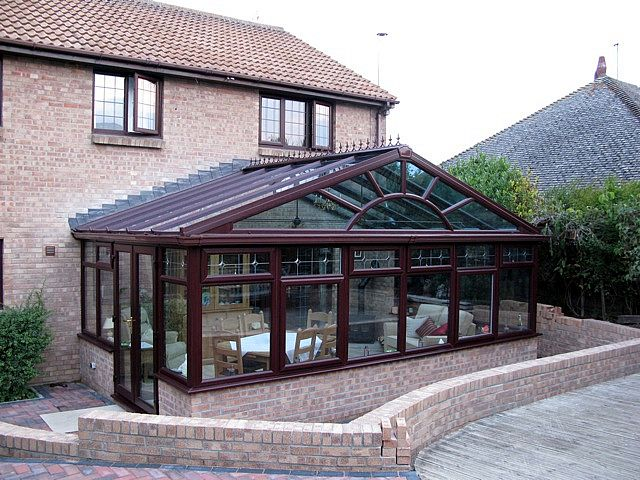 Rosewood PVCu DIY Gable Front Conservatory. Dwarf-Wall Model. Manufactured and supplied by ConservatoryLand DIY Conservatories. Photo kindly supplied by our customer.