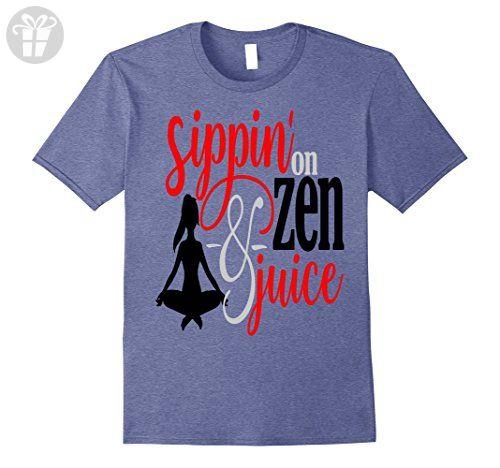 Mens Funny Yoga Shirt Meditate Sippin On Zen and Juice Meditation Large Heather Blue - Funny shirts (*Amazon Partner-Link)