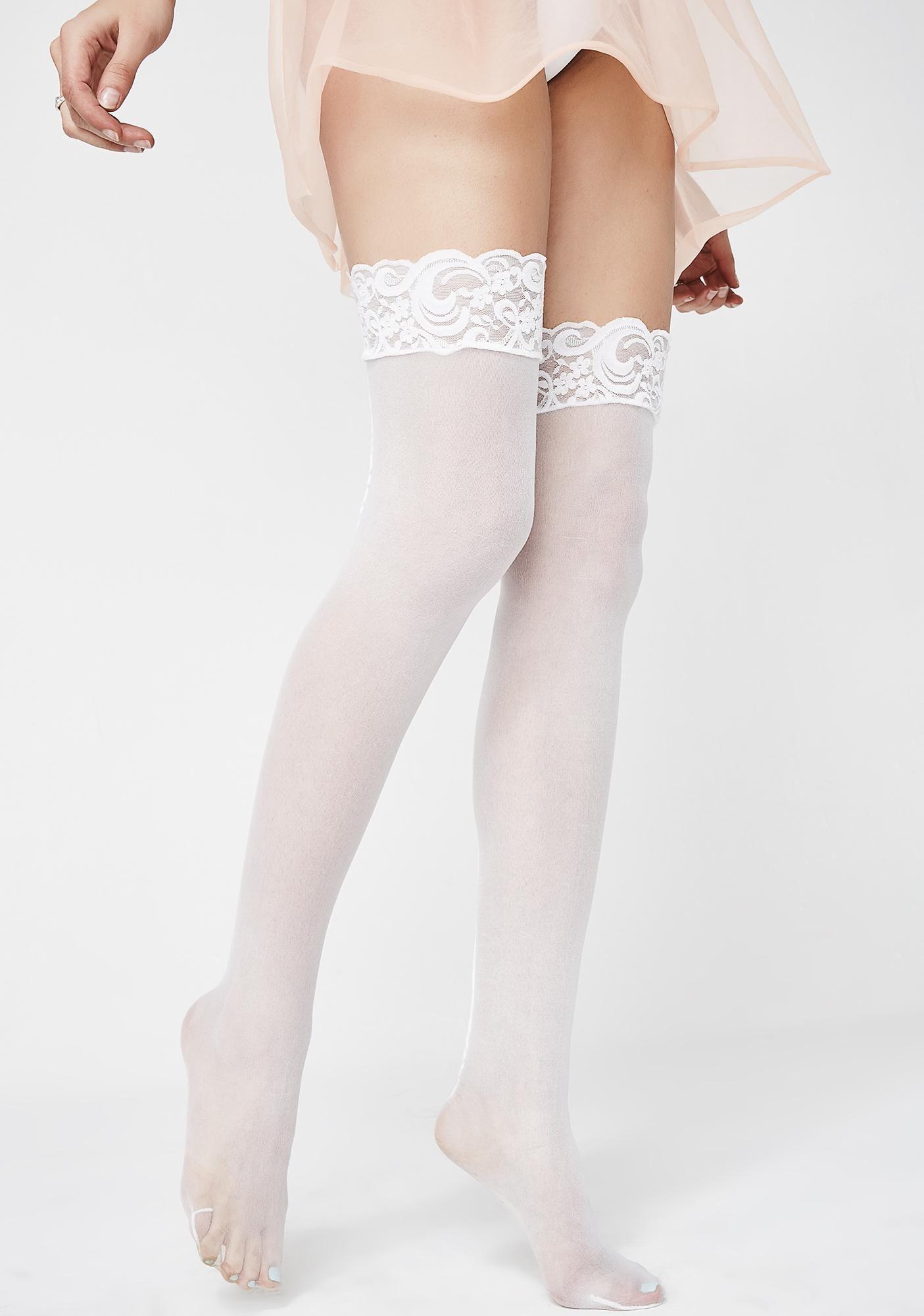 Women Thigh Stockings High Socks Pantyhose Tights Lace Cotton Over Knee Kawaii