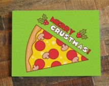 Merry Christmas Puns.Pizza Christmas Card Merry Crustmas Funny Christmas Card