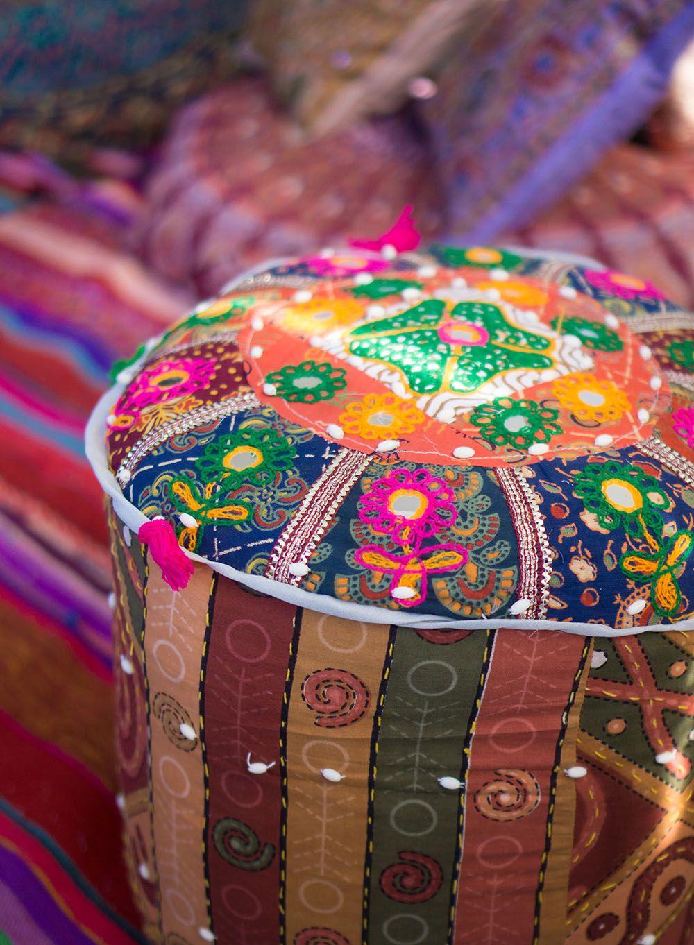 Indisch Bunt Patchwork Pouf Aus Rajasthan Orientalische Sitzkissen