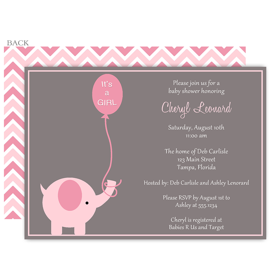 Elephant Balloon, Pink, Baby Shower Invitation | Shower invitations ...