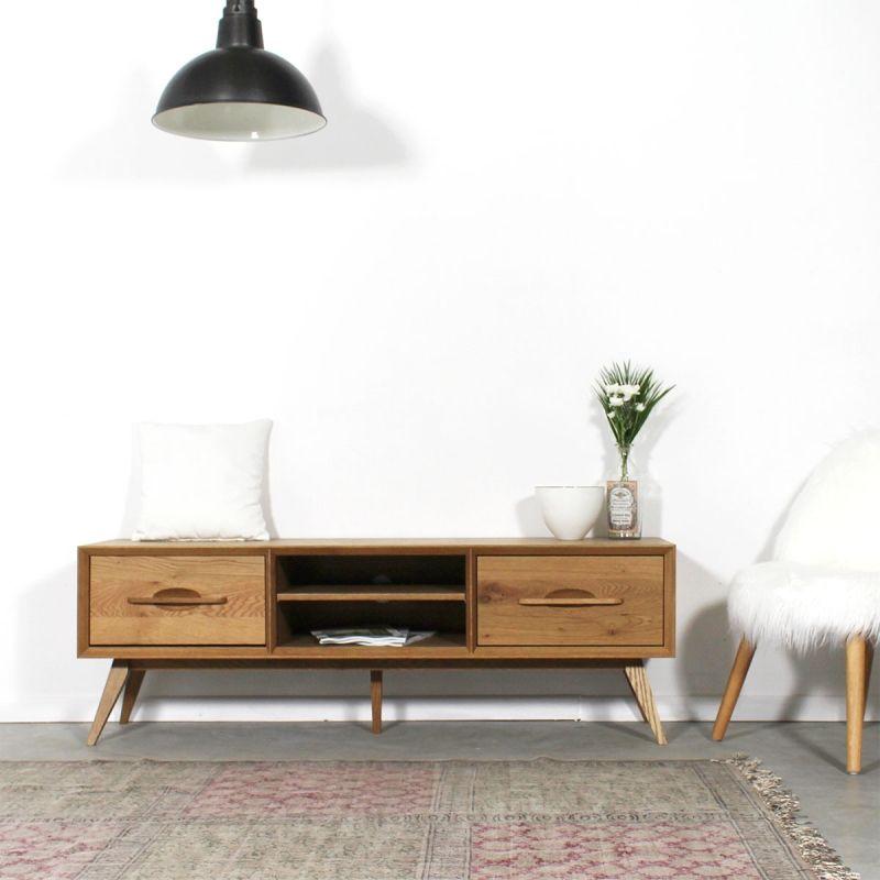 Meuble TV bois massif pieds compas style vintage 2 tiroirs, 2 niches