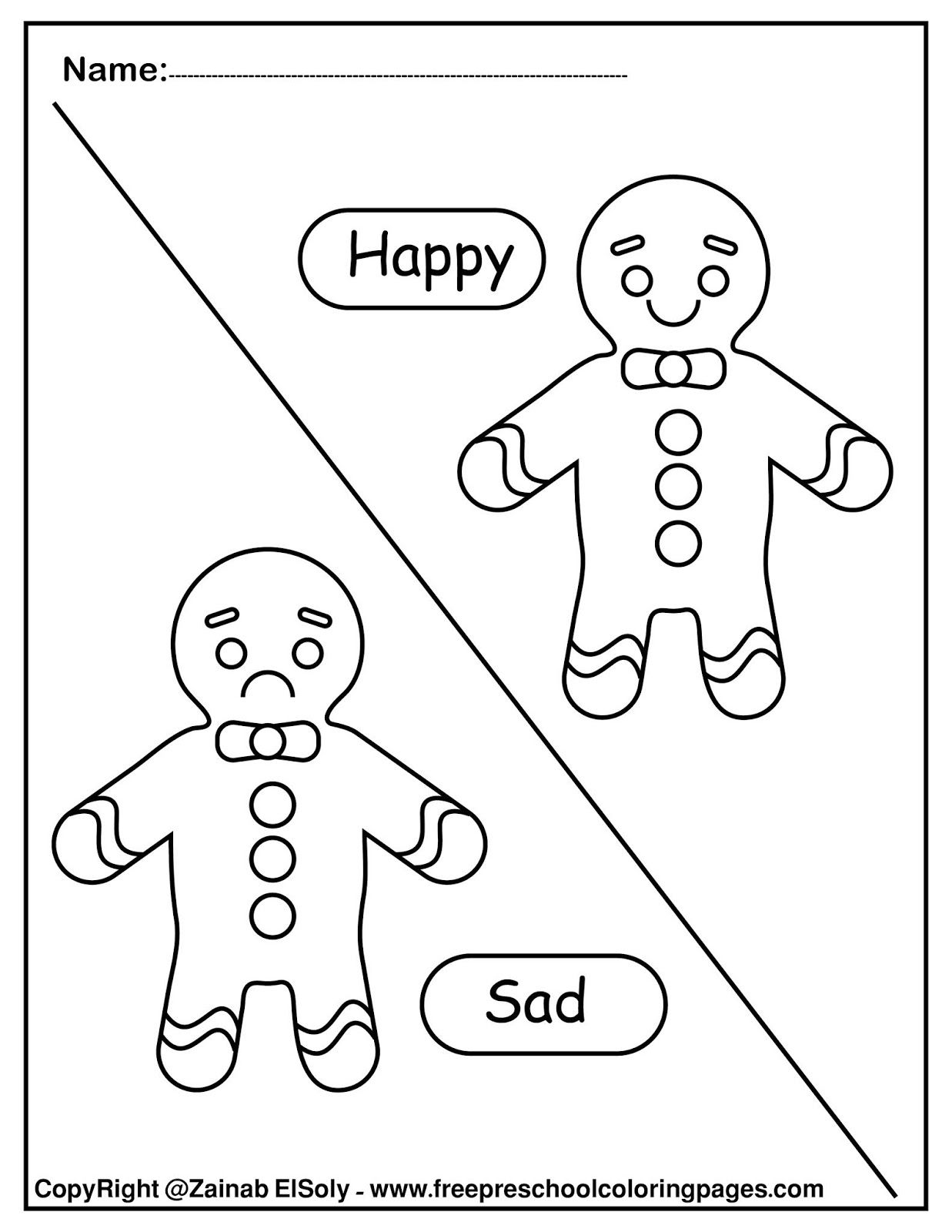 Set Of Gingerbread Man Opposites For Kids In