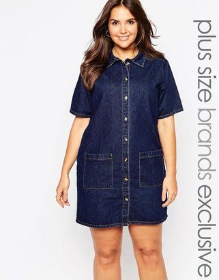Alice & You Denim Shirt Dress With Pocket - Blue | Plus size ...